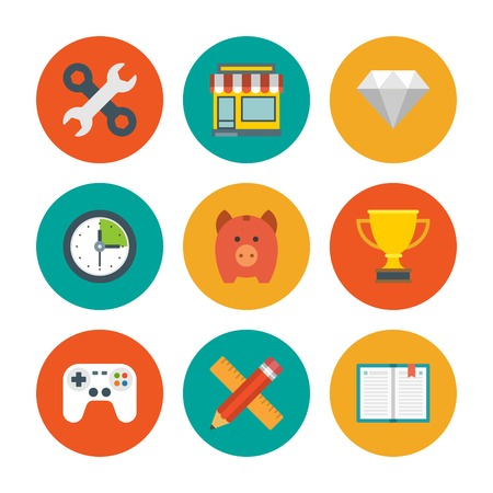 game controller: Flat design icons, Tools, Online Shop, Diamond, Clock, Trophy Cup, Piggy Money Box, Game Controller, Book, Pencil and Ruler. Vector business symbols for website and promotion banners. Illustration