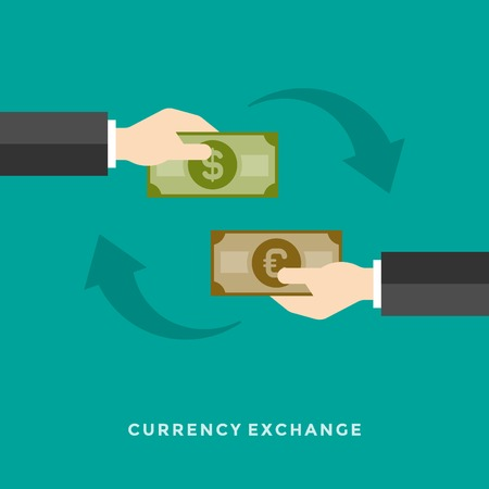 currency exchange: Flat design vector business illustration concept Hands holding money currency exchange for website and promotion banners.