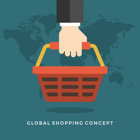 hand basket: Flat design vector business illustration concept Global shopping hand holding shop basket for website and promotion banners.