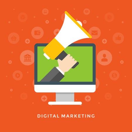 megafono: Piso de diseño vectorial ilustración de negocios concepto de marketing digital hombre de negocios con el megáfono para el Web site y de promoción de banners. Vectores