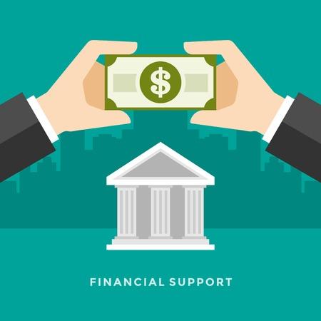 edificio banco: Piso de dise�o vectorial Ilustraci�n de negocio concepto de apoyo financiero manos que sostienen el dinero en d�lares y el edificio del banco para el Web site y de promoci�n de banners.