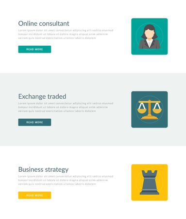 traded: Website Headers or Promotion Banners Templates and Flat Icons Design. On-line consultant manager, Exchange traded scales, Business strategy chess tower. Vector Illustration.