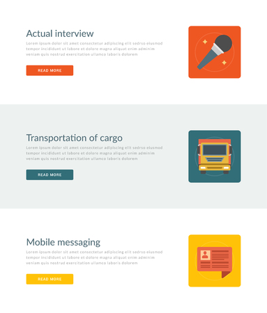 actual: Website Headers or Promotion Banners Templates and Flat Icons Design. Actual interview microphone, Cargo transportation truck, Mobile messaging speech bubble. Vector Illustration.