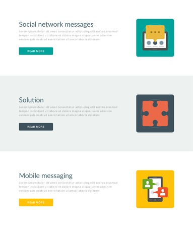 Website Headers or Promotion Banners Templates and Flat Icons Design. Social network message, Solution puzzle, Mobile messaging smart phone and speech bubbles. Vector Illustration. Vector