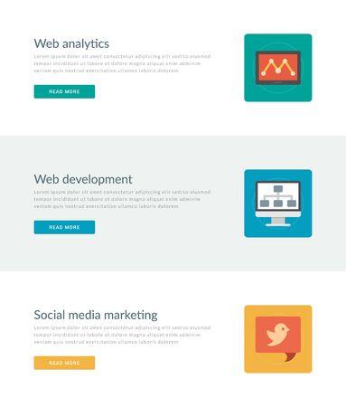 social media marketing: P�gina web Cabeceras o promoci�n Banners Plantillas y plana iconos de dise�o. La anal�tica web tablet PC, la pantalla del monitor de desarrollo Web, Social media marketing. Ilustraci�n del vector. Vectores