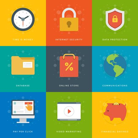 Flat design icons, Lock Security, Online Shopping, Clock, Shop Bag, File Folder, Shield Protection, Video Tutor, Globe Piggy Bank. Vector business symbols for website and promotion banners. Vector