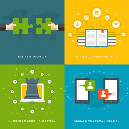 Communication strategy: Website Promotion Banners Templates and Flat Icons Design. Business solution, Knowledge experience, Marketing strategy, Social media communication. Vector Illustrations set.
