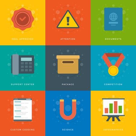 approved stamp: Iconos planos de dise�o, Pasaporte, tel�fono, Im�n, Documentos Box, Sello Aprobado, Atenci�n. S�mbolos de negocios vector para el Web site y de promoci�n de banners.