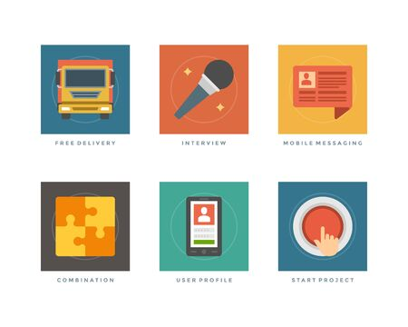 Business flat design icons, Free Delivery, Interview Microphone, Speech Bubble, Puzzle Pie, Smart Phone, Start Up Project. Vector illustration for website and promotion banners. Vector