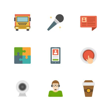 Flat design icons, Delivery Truck, Microphone, Speech Bubble, Puzzle Pieces, Smart Phone, Button, Video Camera, Support, Coffee. Vector business symbols for website and promotion banners. Vector