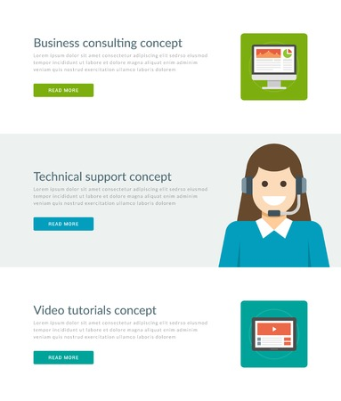 tablet computer: Website Headers or Promotion Banners Templates and Flat Icons Design. Business consulting monitor screen, Technical support woman character, Video totorials Tablet computer. Vector Illustration.