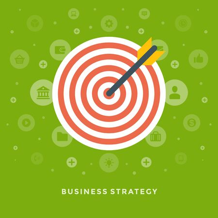 dart board: Flat design vector business illustration concept strategy arrow and dart board for website and promotion banners.