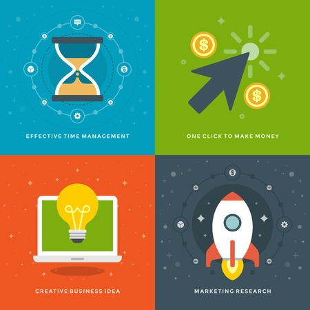 make money: Website Promotion Banners Templates and Flat Icons Design. Time management, Click to make money, Creative Business Idea, Marketing research. Vector Illustrations set.