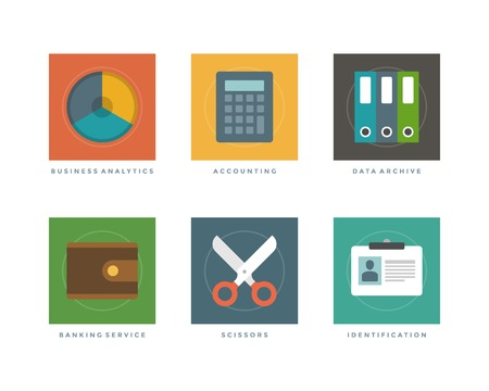 Business flat design icons, Business analytics chart, Accounting calculator, Data archive, Banking service purse, Scissors, Identification user. Vector illustration for website and promotion banners. Vector