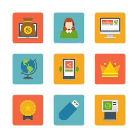 Flat design icons, Online Banking, Laptop Computer, Support Woman, Screen, Mobile Phone, Crown, Globe, ATM Machine, USB, Gold Medal . Vector business symbols for website and promotion banners. Vector