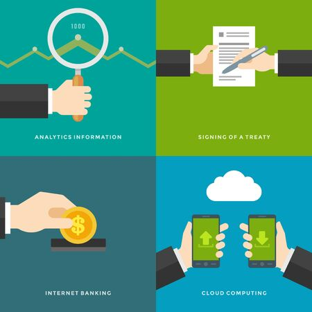 Website Promotion Banners Templates and Flat Icons Design. Signing of a treaty, Analytics information, Internet Banking, Cloud computing. Vector Illustrations set. Vector