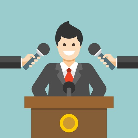 interview: Flat design vector business illustration concept Business man answering questions or giving interview with hands holding microphones for website and promotion banners.