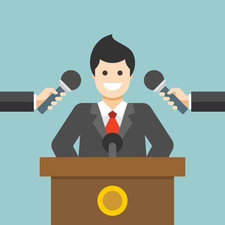 prototipo: Piso de diseño vectorial ilustración concepto de negocio Hombre de negocios que responder preguntas o dar entrevistas con las manos sosteniendo micrófonos para el Web site y de promoción de banners.