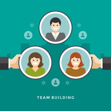 employee development: Flat design vector business illustration concept Team building hands holding employee icons for website and promotion banners. Illustration