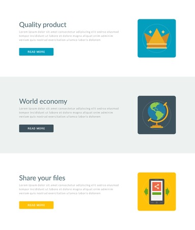 world economy: Website Headers or Promotion Banners Templates and Flat Icons Design. Quality product crown, World economy globe, Share files smart phone. Vector Illustration.