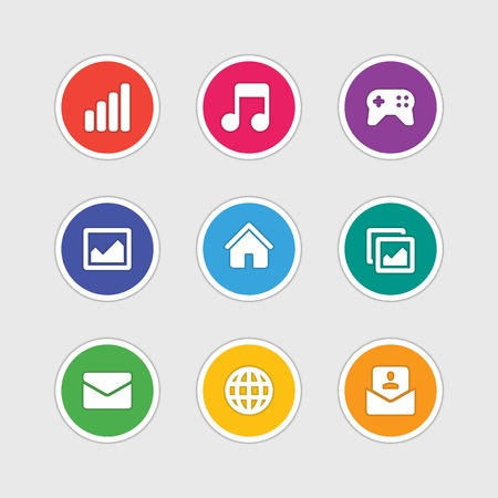 photo gallery: Material design style icons vector sign and symbols Anten signal, Music note, Gamepad, Photo gallery, Home, E-mail, Globe. Elements for website, web banners, mobile apps, ui and other design. Illustration