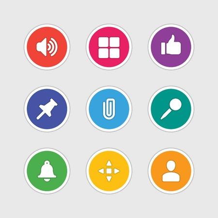 thumbs up icon: Material design style icons vector sign and symbols Speaker, Thumbs Up, User profile, Pin, Navigation, Clip, Bell. Elements for website, web banners, mobile apps, ui and other design.