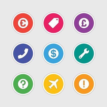 dollar sign icon: Material design style icons vector sign and symbols Euro, Tag, Telephone tube, Dollar, Airplane, Attention, Question, wrench. Elements for website, web banners, mobile apps, ui and other design. Illustration