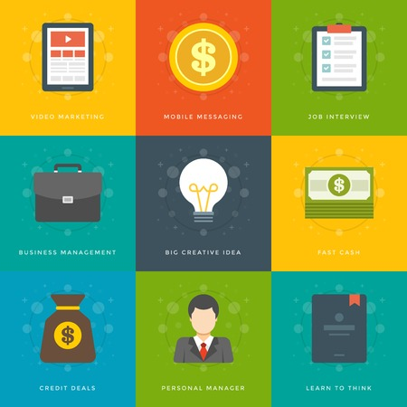 business man vector: Flat design icons, Tablet Computer, Dollar Coin, Checklist Interview, Suitcase, Creative Idea Lamp, Money Cash, Money Bag, Business man. Vector business symbols for website and promotion banners.