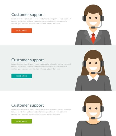 media center: Website Headers or Promotion Banners Templates and Flat Icons Design. Customer support people character center telephone consultant or personal manager. Vector Illustration.