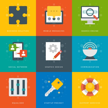 tablet computer: Flat design icons, Tablet Computer, Smart Phone, User Profile, Puzzle Pie, Satellite, Screen, Magnifier Glass, Graphic Design, Eqailizer. Vector business symbols for website and promotion banners. Illustration