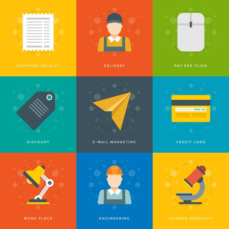 Flat design icons, Delivery man, Credit Card, Sale Tag. Vector business symbols for website and promotion banners. Vector