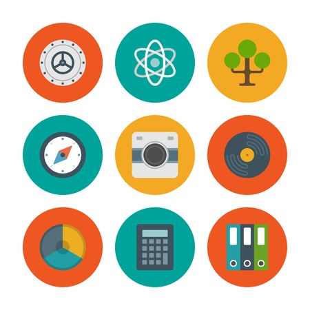 bank records: Flat design icons, Tree, Safe Door, Science, Compass, Photo Camera, Record, Graph Chart. Vector business symbols for website and promotion banners.