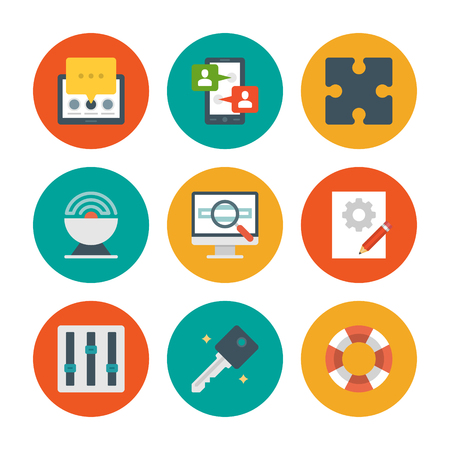 Flat design icons, Tablet Computer, Smart Phone, User Profile, Puzzle Pie, Satellite, Screen, Magnifier Glass, Graphic Design, Eqailizer. Vector business symbols for website and promotion banners. Vector