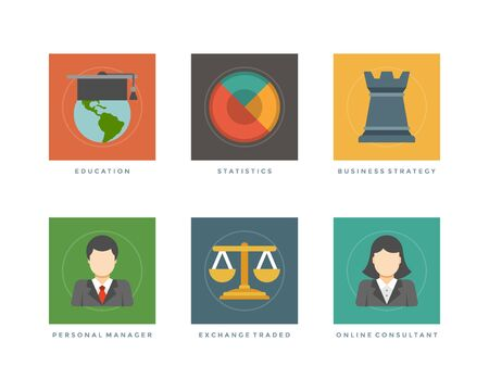 traded: Business flat design icons, Education, Statistics, Business Strategy, Personal Manager, Exchange Traded. Vector illustration for website and promotion banners.