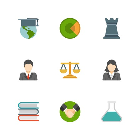 Flat design icons, Business Man, Business Woman, Globe, Chess, Scales, Handshake. Vector business symbols for website and promotion banners. Vector