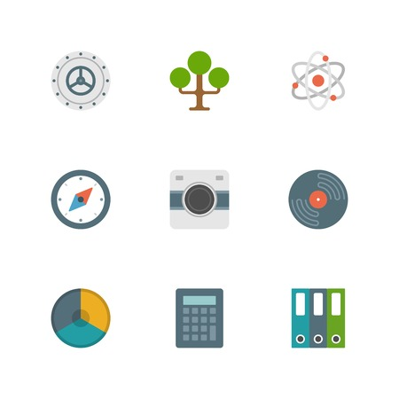 tree services company: Flat design icons, Tree, Safe Door, Science, Compass, Photo Camera, Record, Graph Chart. Vector business symbols for website and promotion banners.