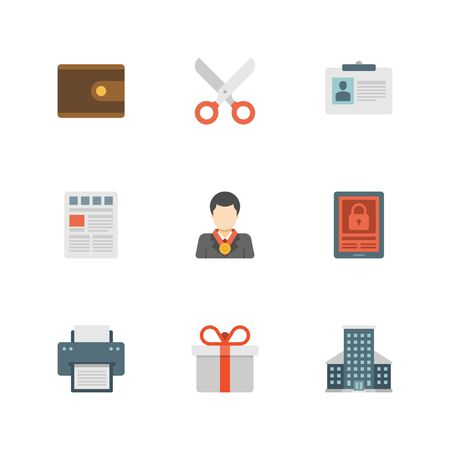 building security: Flat design icons, Money Purse, Scissors, User Profile, Leader, Security, Printer, Gift Box, Skyscrapper Building. Vector business symbols for website and promotion banners.