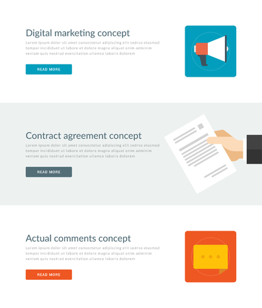 actual: Website Headers or Promotion Banners Templates and Flat Icons Design. Digital marketing megaphone, Contract agreement hand hold paper document, Actual comments speech bubble. Vector Illustration. Illustration