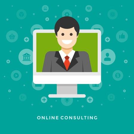 prototipo: Piso de diseño vectorial ilustración concepto de negocio de consultoría en línea hombre de negocios de la pantalla del monitor coputer para el Web site y de promoción de banners.