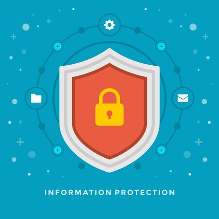 investment protection: Flat design vector business illustration concept Information protection shield and lock icon for website and promotion banners.