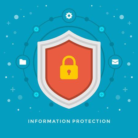 prototipo: Piso de diseño vectorial Ilustración de negocio concepto de protección Información escudo y el icono de bloqueo para la web y banners de promoción. Vectores