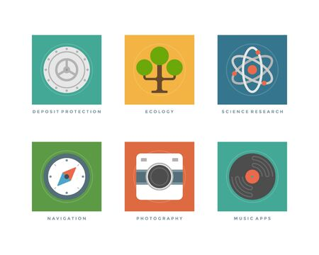 tree services company: Business flat design icons, Deposit protection safe, Tree, Science research, Navigation compass, Photo camera, Record. Vector illustration for website and promotion banners. Illustration