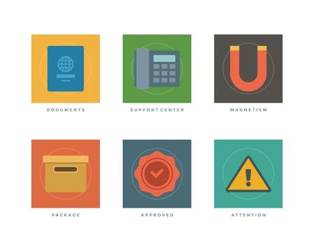 approved stamp: Iconos del dise�o planos comerciales, documentos de pasaporte, tel�fono centro textuales, Magnetismo, caja de embalaje, sello autorizado, muestra de la atenci�n. Ilustraci�n del vector para el Web site y de promoci�n de banners.