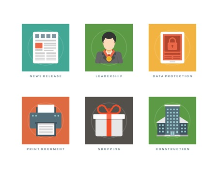 consulting services: Business flat design icons, News release newspaper, Leadership business man, Data protection tablet pc, Print document, Shopping gift box. Vector illustration for website and promotion banners. Illustration