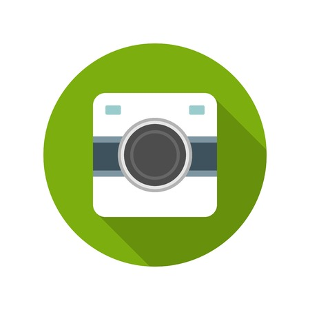 multiple image: Flat Photographer Professional Retro Photo Camera icon design and long shadow vector illustration for website and promotion banners. Illustration