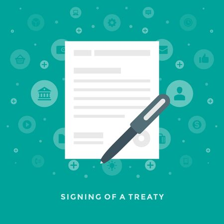 treaty: Flat design vector business illustration concept Signing of a treaty agreement contract for website and promotion banners.