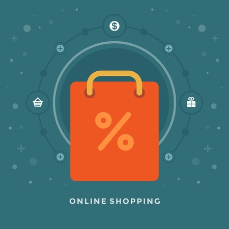 percentage sign: Flat design vector business illustration concept On-line Shopping bag and sale percentage sign for website and promotion banners.