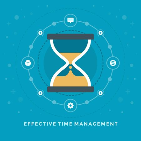 effective: Flat design vector business illustration Effective Time Management Sand Clock for website and promotion banners.