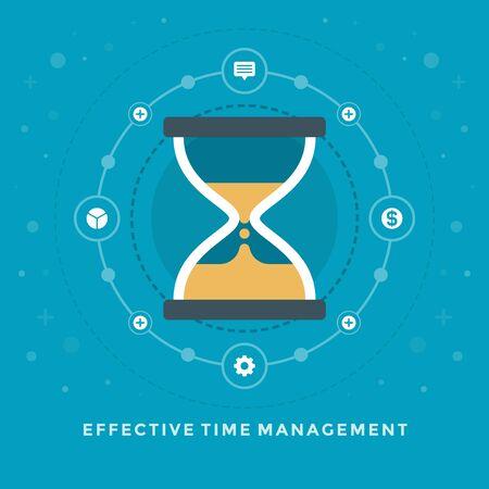 sand clock: Piso de dise�o ilustraci�n vectorial de negocio gesti�n eficaz de tiempo de la arena del reloj de las y promoci�n de webs banners. Vectores