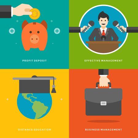 suit case: Website Promotion Banners Templates and Flat Icons Design. Profit Deposit, Effective management, Distance education, Business suit case. Vector Illustrations set.